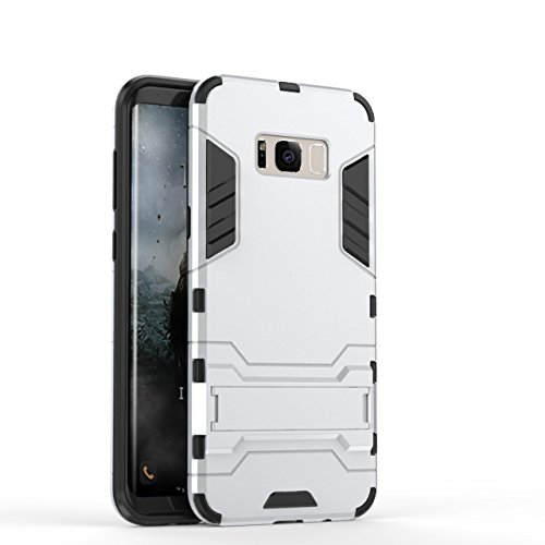 J Graphic Designed Kick Stand Hard Dual Rugged Armor Hybrid Bumper Back Case Cover For Samsung Galaxy S8 Silver