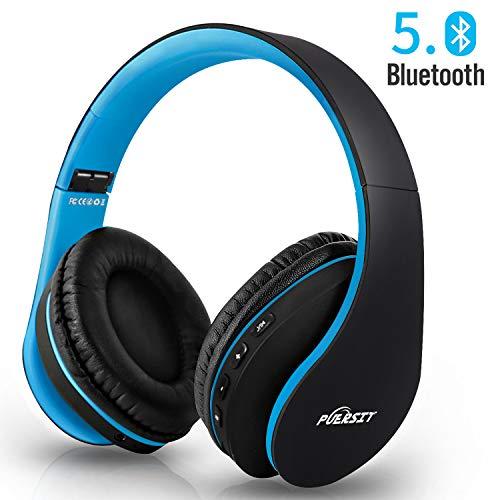 Bluetooth Kopfhörer, Puersit Kopfhörer Kabellose Stereo Faltbare Headset Over Ear Kopfhörer mit Integriertem Mikrofon für Handys/iPad/Laptops & PC (Black-Blue)