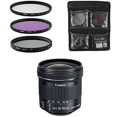 Canon Objetivo - EF-S 10-18 mm f/4.5-5.6 IS STM - Gran Angular Lente para Cámara Réflex Digital + Juego de Filtros de 3 piezas UV, CPL, FLD - Negro