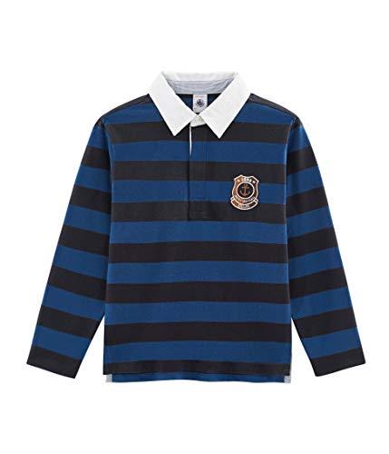 Petit Bateau Jungen Polo ML_4971901 Poloshirt, Mehrfarbig (Smoking/Limoges 01), 128 (Herstellergröße: 8ans/128cm) -