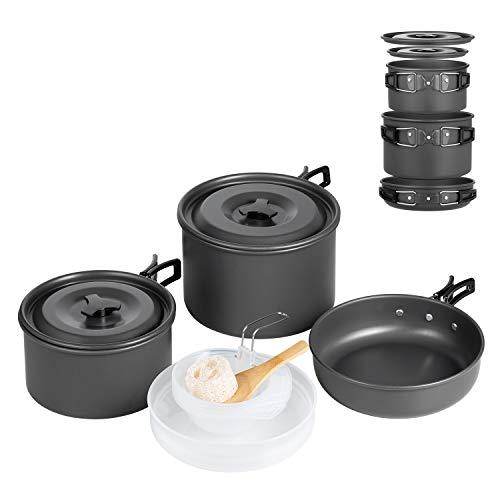 Set de Utensilios de Cocina de Camping Terra Hiker, Antiadherente, , Bolsa de Malla con Mochila para Acampadas, Senderismo, Picnic, Pack de 16