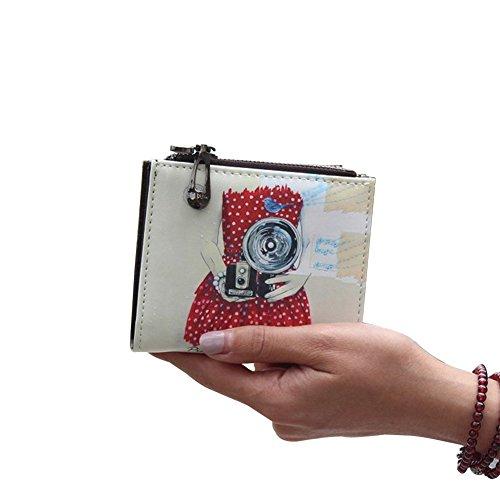 Dreambox mini portafoglio da ragazza in ecopelle con motivo cartoon Red (camera)
