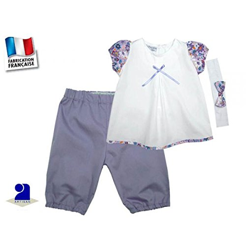 Poussin bleu - Pantacourt et tunique fille 9 mois, mauve et blanc Taille - 71 cm 9 mois , Couleur - Multicolore