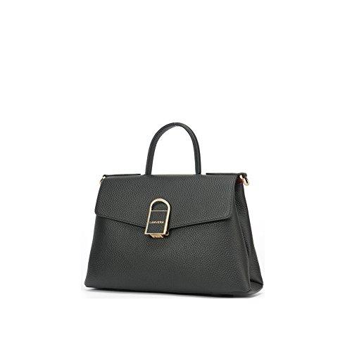 Yvonnelee delle donne di modo del sacchetto di cuoio della borsa spalla dell'unità di elaborazione borsa a tracolla pelle Shopper elegant Borse Nero
