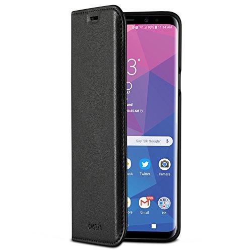 CASEZA Galaxy S9 Plus Flip Case Schwarz Oslo Ultra Schlanke PU Leder Hülle Ledertasche Lederhülle fürs Original Samsung Galaxy S9+ (6,2 Zoll) - Edles Kunstleder Cover mit Magnetverschluss