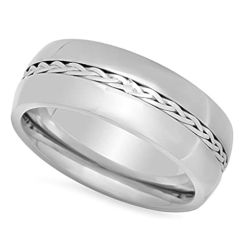Men's Titanium 8mm Comfort Fit Ring w/Braided Sterling Silver Inlay,