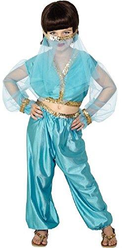 (Fancy Me Mädchen Arabisch Harem Prinzessin Bauchtänzerin Jasmin Harem Kostüm Kleid Outfit - Blau, 6-8 years)