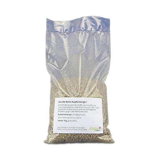 Basis-Dünger mit hohem Kupfer-Anteil - Excello-Granulat im 1 kg Beutel - Pilzresistenz und besseres Wachstum mit Langzeit-Wirkung - Produkt von Garten Schlüter (Kupfer-garten-anteile)