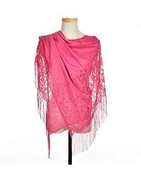741ee6922ab5 BEAYPINE Dentelle évider glands écharpe soirée wrap étole écharpe châle  foulard Tippet écharpes pour les femmes