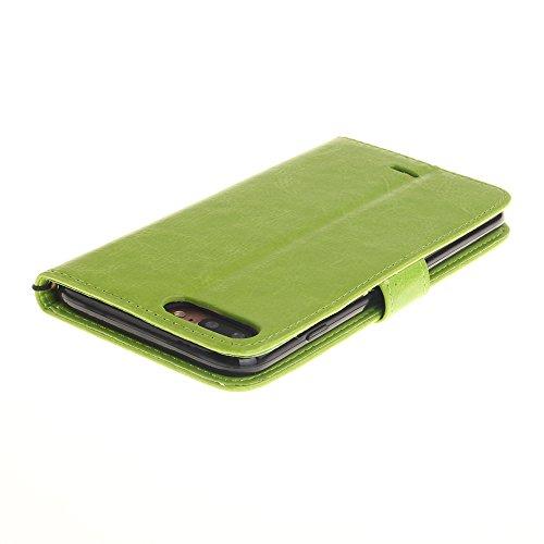Wkae Case Cover IPhone7 Case, Premium étui en cuir PU, embossés Fleurs de pissenlit Lovers Wallet Case Support Avec Dragonne pour Apple IPhone 7 Plus ( Color : Blue , Size : IPhone 7 Plus ) Green