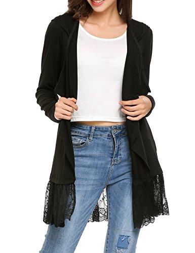 Beyove Damen Strickjacke Cardigan Bolero Strickmantel Kimono Pullover Blazer Jacke (EU 40(Herstellergröße: L), (Z) Schwarz)