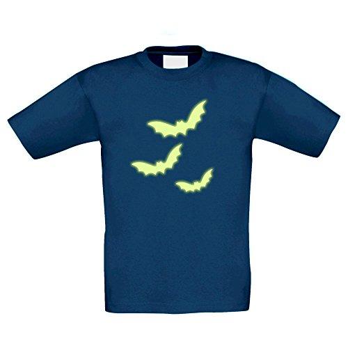 Kinder Halloween Shirt - DREI Fledermäuse - Glow in The Dark, dunkelblau-Glow, 122-128