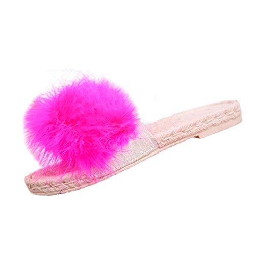 Ningsun Donne Moda Hairball Interno All'aperto Hairball Tacco Piatto Sandali Pantofola Scarpe da Spiaggia/Eleganti Spiaggia Casuale Colore Caramella Dolce Sandals Shoes Ciabatte(Brillante Rosa,35)