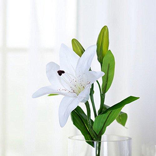 tion Blume Lily künstlich Seide Blume Deko Blumen für Tisch Dekoration in Wohnzimmer, Schlafzimmer, Küche..., PU, weiß, Kurz (Fake Kurze Bart)