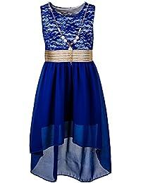 Unbekannt Kinder Sommer Fest Kleid für Mädchen Sommerkleid Festkleid mit Kette in vielen Farben
