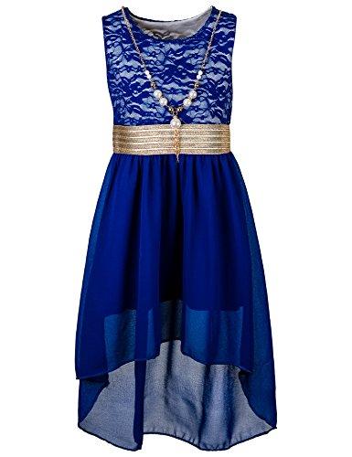 (Kinder Sommer Fest Kleid für Mädchen Sommerkleid Festkleid mit Kette in vielen Farben M288bl Blau Gr. 20 / 176)