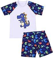 Bañador para Niño de Dos Pieza Estampado Dinosaurio Traje de Baño Camiseta Manga Corta + Pantalón Corto para P