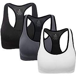 ANGOOL Sujetador Deportivo para Mujer Yoga Sport-BH Run Bra (L Fit 80D 80DD 80E 85D 90BC 90D, Negro + Gris + Blanco)