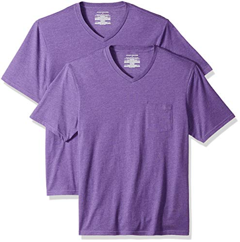 Amazon Essentials 2-Pack Regular-fit V-Neck Pocket T-Shirt, Camiseta para Hombre, Morado (Purple Heather Pur), Medium