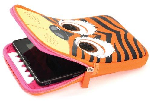 Tab Zoo Universal Pouch Case Schutzhülle mit integriertem Stand für 8 Zoll (20,3 cm) Tablets im niedlichen Design - Tiger (- Ein Tablet-cases Für 8-zoll)