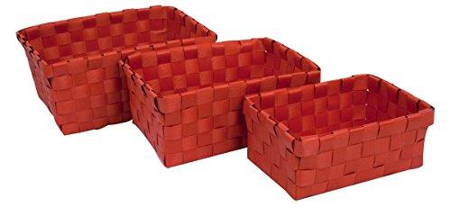 Carpemodo Korb Set 3 TLG ideal Bad und Haushalt, Rot, schick, praktisch, Ordnungshelfer, Aufbewahrungshelfer, Rattan Look, Kunststoffgeflecht