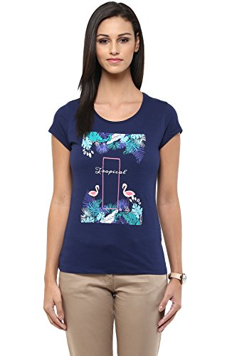 Honey by Pantaloons Women's Round Neck T-shirt _Navy_M  available at amazon for Rs.269