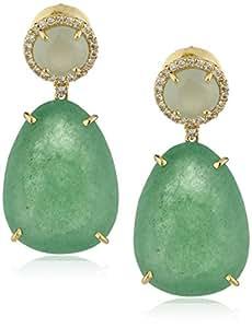 VIANNA BRASIL 18 ct Yellow Gold Diamond 0.288 ct, Emerald Quartz and Milky Aquamarine Earrings