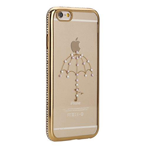 Etsue Glitter Silikon Schutzhülle für iPhone 6 Plus/6S Plus TPU Case, Bunte Schmetterling Blume Plating TPU Case Sparkle Strass Silikon Crystal Clear Case Bling Soft Back Cover Glitzer Kirstall Glänze Golden Frame,Regenschirm