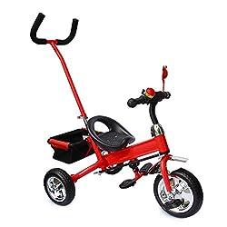 Kinderdreirad mit SERVOLENKUNG rot, Kinderfahrrad, Korb, drehbare Lenkstange mit Steuerung, Beinstellen, Dreiräder