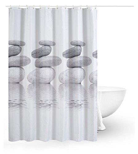 Ommda Duschvorhang Textil Polyester Wasserdicht Duschvorhang Anti-schimmel Kopfsteinpflaster Digitaldruck Waschbar mit 12 Duschvorhang Ring Kunststoff 120x200cm