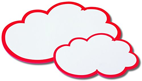 Nobo 1901317 Moderationskarte (Wolke, 170 g/m2 Papierqualität, 420 x 250mm, 20 Stück) weiß mit rotem Rand