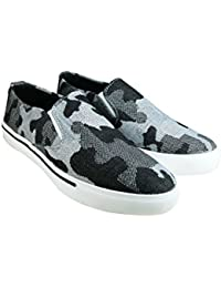 Tycos Black Canvas Slip On Shoes For Men & Boys