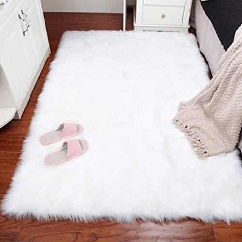 DAOXU Piel de Imitación,Cozy sensación como Real, Alfombra de Piel sintética Lavable para sofá o Dormitorio (Blanco, 60x90cm)