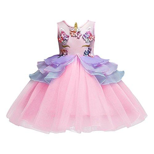 Leopard Rosa Kind Kostüm - OBEEII Baby Kleid, Chiffon Baby Kinder Mädchen Prinzessin Einhorn Dekoration Drucken Brautjungfer Festzug Party Hochzeitskleid Rosa 6-7 Jahre