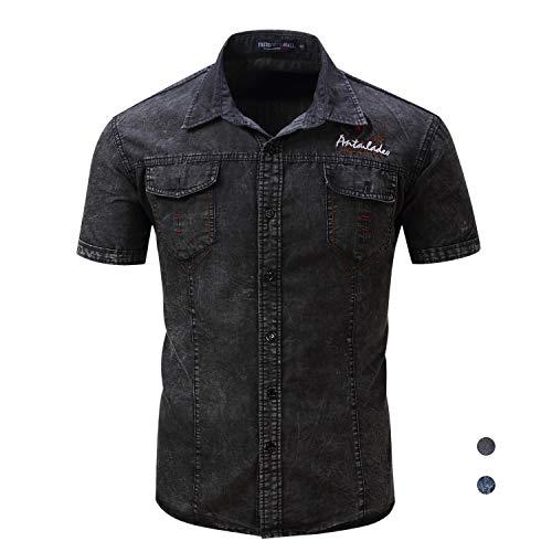 Herren Denim Bestickt (Versacec Herren Jeans-Kurzarm-Hemd,Besticktes Baumwoll-Hemd Lässiges Kurzarm- Hemd mit Knöpfen,2,2XL)