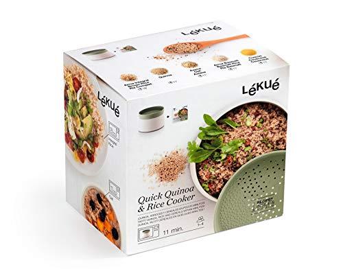 Lékué 200700 Recipiente Para Cocinar Quínoa, Arroces Y Cereales 1 Liter, plástico, Verde