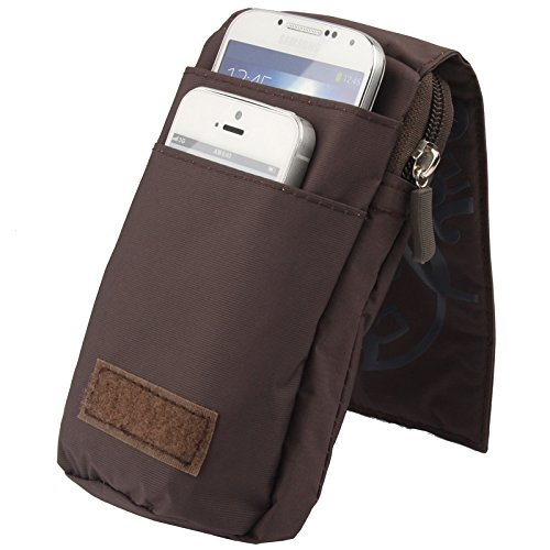 Wkae Case Cover 3-Schicht-Reißverschluss Tragetasche mit Karabiner-Haken für iPhone 6 Plus, Samsung Galaxy Note 5 / S7 / Alle 5,5-Zoll-Gerät ( SKU : S-SCS-4912DYB ) S-SCS-4912Z