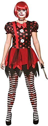 Horror Clown - Damen Adult Fancy Dress Kostüm M (UK: 14-16) (Damen Clown Kostüm Uk)