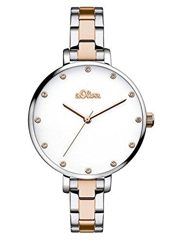 s.Oliver Damen Analog Quarz Armbanduhr mit Edelstahl Armband SO-3458-MQ