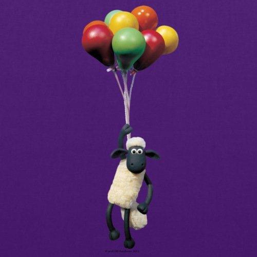 Spreadshirt Shaun das Schaf Mit Luftballons Stoffbeutel Lila