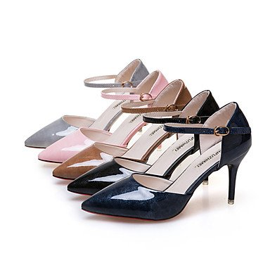 LvYuan Da donna Sandali PU (Poliuretano) Primavera Estate Fibbia A stiletto Nero Grigio Marrone Blu Rosa 7,5 - 9,5 cm Blue