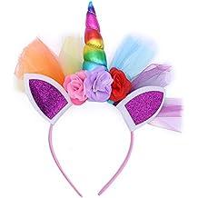 LUOEM Unicornio Rainbow cuerno diadema unicornio orejas diadema cumpleaños  Colorido flor Hheadwear para niños adultos traje 9abda8729a9b