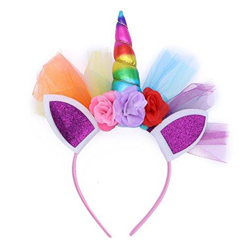 LUOEM Unicornio Rainbow cuerno diadema unicornio orejas diadema cumpleaños Colorido flor Hheadwear para niños adultos traje de cosplay, decoración del partido