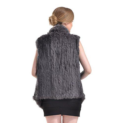 Pelliccia di pelliccia del coniglio - Gilet di inverno di inverno delle donne Real Gilet di pelliccia a maglia con la tasca Grigio scuro