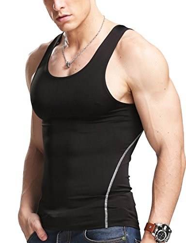 XDIAN Herren Vest Slimming Body Shaper Singlet Fit Stretch Tank Top Casual Baumwolle Ärmelloses Tops (XL, Black) (Shirt Tank-top Stretch)