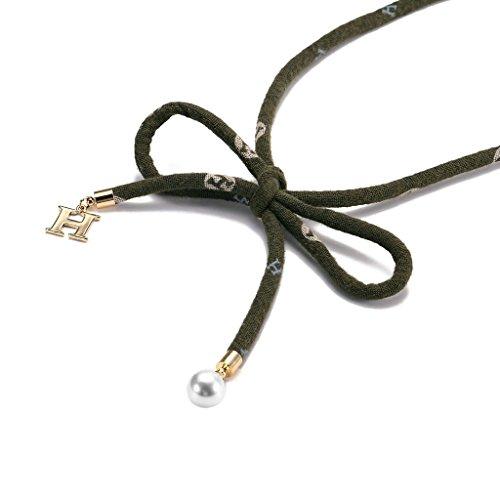 KnSam Ras du Cou Choker Velours Acier Inoxydable Letter H Perle Nœud à Deux Boucles Collier[Fille Gothique] Or Vert