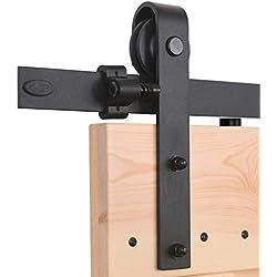 CCJH 6.6FT-200cm Quincaillerie Kit de Rail Roulettes pour Porte Coulissante Hardware pour une Porte Suspendue en Bois Sliding Barn Door Hardware Flat Shaped