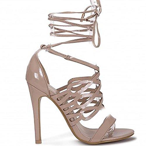 Shoe Closet Damen Nackt Patent Knöchel Krawatte Peep Toe Laser Geschnittene Doll High Heels Pumps UK6/EURO39/AUS7/USA8