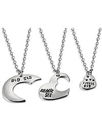 JewelryWe Juego de Collares para Mujeres Niñas, Colgante de Corazón Partido y Luna Collar de Mensajes para Hijas Hermanas, Buen Regalo para Día del Niño/ Los Reyes