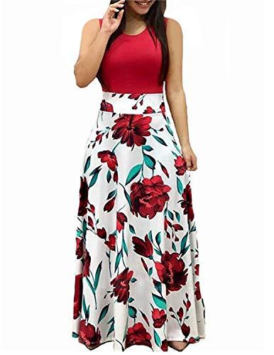 Yipin vestiti donna lunghi manica corta estivi colore bloccato stampa floreale lungo vestito spiaggia cerimonia sera (s, rosso + bianco 2)